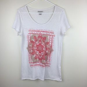 Lucky Brand Size Large Short Sleeve Graphic Top